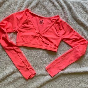 Long sleeve girls bright pink tennis top
